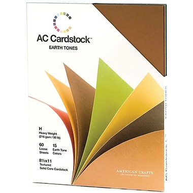 American Crafts Cardstock Pack, 8.5in. x 11in., Earthtones