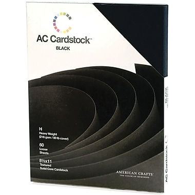 American Crafts Cardstock Pack, 8.5in. x 11in., Black