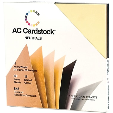 American Crafts Cardstock Pack, 8in. x 8in., Neutrals