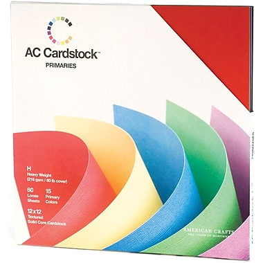 American Crafts Cardstock Pack, 12in. x 12in., Primaries