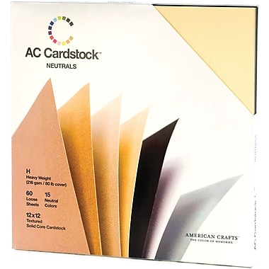 American Crafts Cardstock Pack, 12in. x 12in., Neutrals