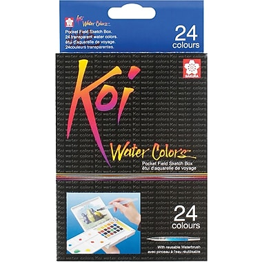 Sakura Koi Non-toxic Water Colors Pocket Field Sketch Box, 24 Colors (XNCW24N)