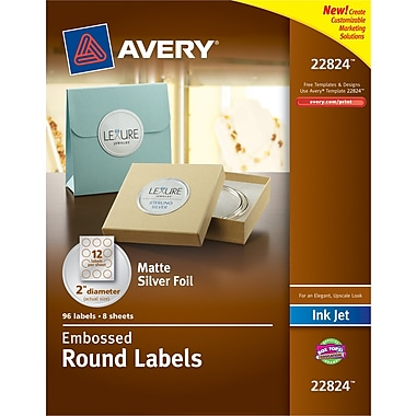 Avery® Embossed Round Labels 22824, Matte Silver Foil, 2in. Diameter, Pack of 96