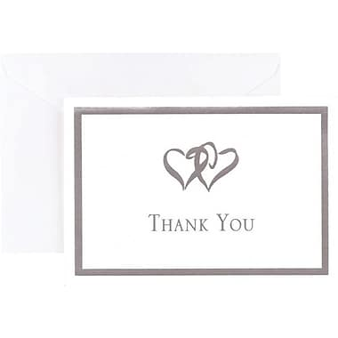 Silver Foil Double Heart Thank You Note Cards and Envelopes