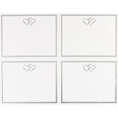 Silver Double Hearts Foil 4-up Postcards