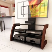 Sonax® Milan Hybrid 45 Wood/Veneer TV Stand with Solid Wood Uprights, Piano Black