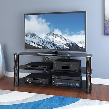 Sonax™ - Support pour téléviseur de 50 po de la collection New York, métal et verre, gris métallique