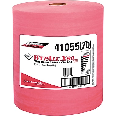WypAll X80 Reusable Wipes, Extended Use Wipers (41055), Red, 12.5in. x 13.4in., 475 Wipes/Roll, 1 Roll/Case