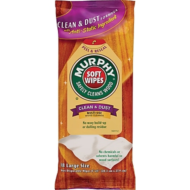 Murphy Oil Soap Cloth Soft Wipe, Unscented, White, 8in.(W) x 11in.(L), 18/Pack, 12/Ctn
