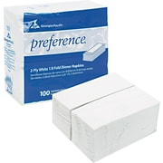 Preference 1/8 Fold Paper Dinner Napkin, 2-Ply, White, 3,000/Case