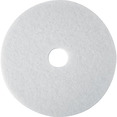 3M White Super Polish Floor Pad 4100, White, 12