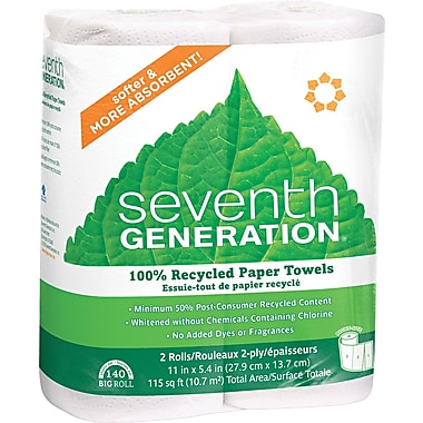 Seventh Generation 100% Recycled Paper Towel Roll With Right Size Sheets, 2-Ply, White, 2/Pack