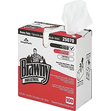 Brawny Industrial Heavy-Duty Shop Towel, Cloth, 100 Wipes/Box