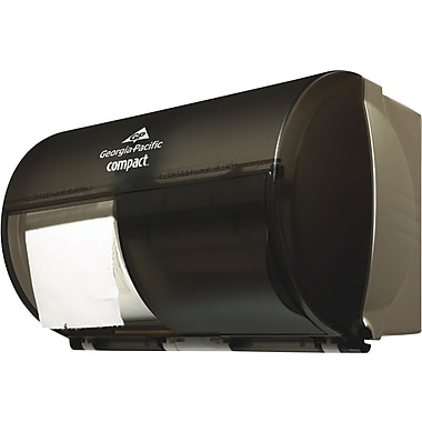 Georgia Pacific® Compact Plastic Coreless Double Roll Tissue Dispenser, Translucent Smoke/Gray, 7.12in.(H) x 10.12in.(W)