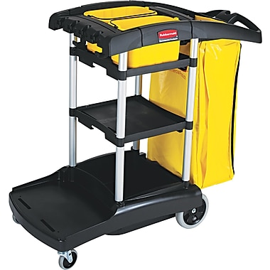 Rubbermaid Commercial High Capacity Cleaning Cart, Black, 38 3/8in.(H) x 21 3/4in.(W) x 49 3/4in.(D)