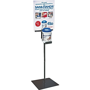 Nice Pak Sani-Hands Steel Floor Stand, Black