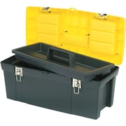 "Stanley Series 2000 Toolbox With Tray, 2 Lid Compartments, Yellow/Black, 10""(H) x 10""(W) x 19""(D)"