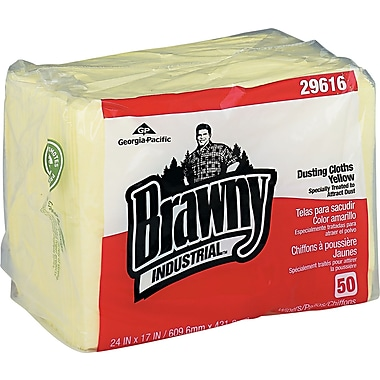 Brawny Industrial  Dusting Cloth, Yellow, 17in.(W) x 24in.(L)