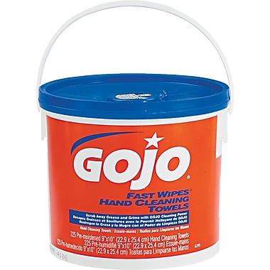 GOJO ® Fast Wipes ® Cloth Hand Cleaning Towel, Orange, 225 Wipes/Tub