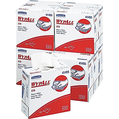 Kimberly-Clark Wypall X70 Hydroknit Wipe, Unscented, White, 16.8