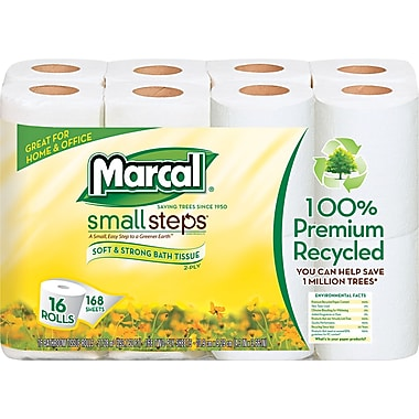 Marcal Small Steps 100% Premium Recycled Bathroom Tissue, 2-Ply, 96 Rolls/Case
