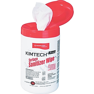 Kimtech Prep® Paper Surface Sanitizer Wipe, Unscented, 30 Wipes/Tub
