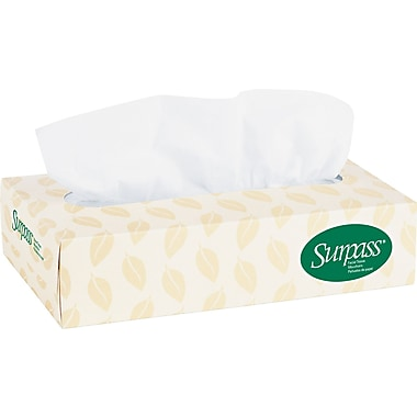Surpass 100% Recycled Fiber Facial Tissue, Flat Box, 2-Ply, 60/Case