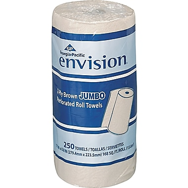 Envision Jumbo Perforated Paper Towel Roll, 2-Ply, Brown, 11in.(W) x 8 4/5in.(L), 12/Ctn