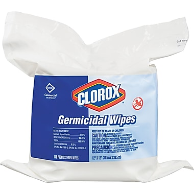 Clorox Germicidal Tissue Wipes Refill, White, 12in.(W) x 12in.(L), 110/Pack