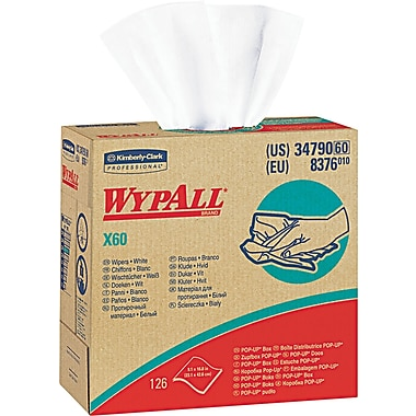 Kimberly-Clark  Wypall  X60 Hydroknit Wipe, Unscented, White, 9 1/10in.(W) x 16 4/5in.(L)