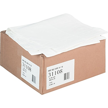 Tatco Paper Rectangular Table Cover with Plastic Liner for 8' Table , 108in.(L) x 54in.(W) , White