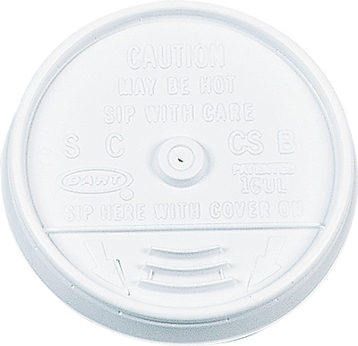 Dart  Plastic Sip-Thru Lid for 16 oz. Hot/Cold Foam Cups, White, 1000/Carton 806681