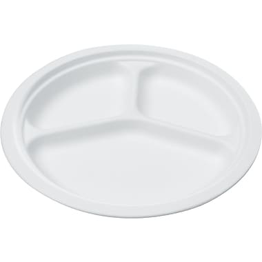 NatureHouse® Round Sugarcane Plate, 3 Comp, 10in.(Dia), White, 125/Pack