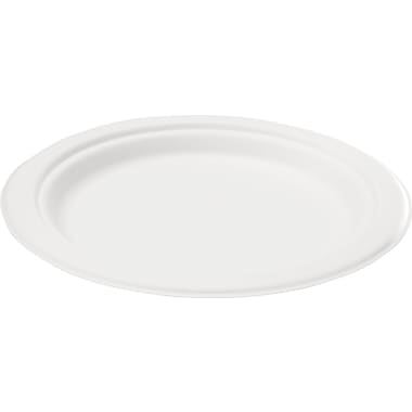 NatureHouse® Round Sugarcane Plate, 10in.(Dia), White, 125/Pack