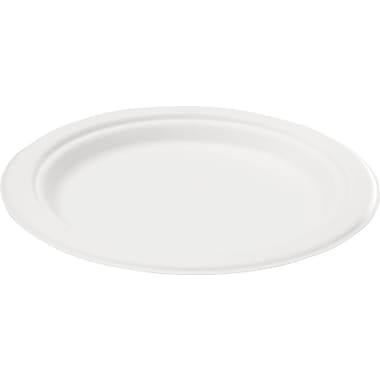 NatureHouse® Round Sugarcane Plate, 7in.(Dia), White, 125/Pack