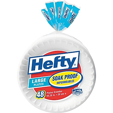 Hefty® Soak Proof Foam Plate, 10 1/4in., White, 48/Pack