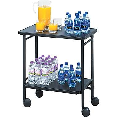 Safco ® Folding Office/Beverage Cart, 2 Shelf, 30in.(H) x 26in.(W) x 15in.(D), Black