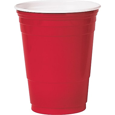 SOLO  Plastic Cold Party Cup, 16 oz., Red, 1000/Carton