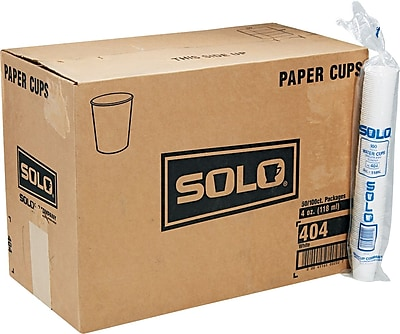 SOLO Cup Company White Paper Water Cups, 4oz, 100/Bag, 50 Bags/Carton SCC404CT