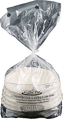 Coffee Pro  Basket Shape Paper Coffee Filter for Commercial Coffee Makers, 12 Cup, White, 250/Pack 884983