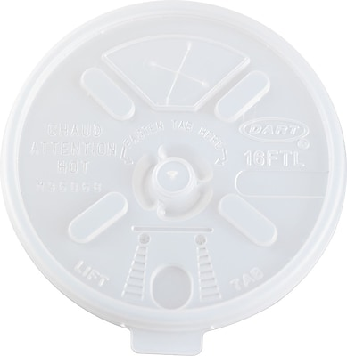 Dart  Plastic Straw Slotted Lid for 16 oz. Foam Cup, Translucent, 1000/Carton 869576