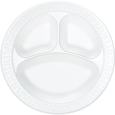 Dart ® Concorde ® Non-Laminated Round Foam Compartmented Plate, 10 1/4in.(Dia), White, 500/Carton
