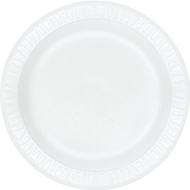 Dart ® Concorde ® Non-Laminated Round Foam Plate, 9in.(Dia), White, 125/Pack, 500/Carton