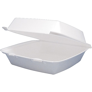Dart® Foam Carryout Hinged Food Container, 1 Comp, 3in.(H) x 9 1/4in.(W) x 9 1/2in.(D), White