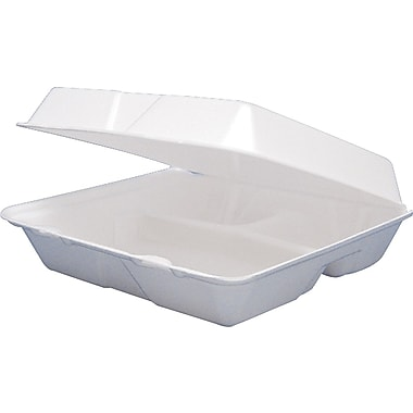 Dart® Foam Carryout Hinged Food Container, 3 Comp, 3 1/4in.(H) x 8 3/8in.(W) x 7 7/8in.(D), White