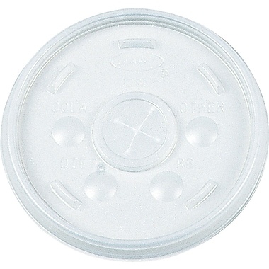 Dart ® Plastic Sip-Thru Lid for 12 oz. Hot/Cold Foam Cups, Translucent, 1000/Carton