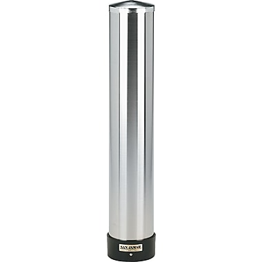 San Jamar ® SS Large Water Cup Dispenser with Removable Cap for 24 oz. cups, 23 1/2in.(H) x 3 7/8in.(Dia)