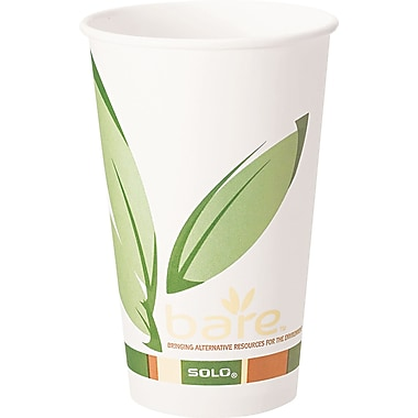 Solo  Bare Eco Forward Recycled Content PCF Paper Hot Cup, 16 oz., 1000/Carton