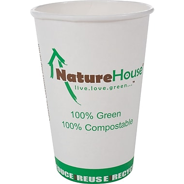 NatureHouse® Paper/PLA Corn Plastic Hot Cup, 12 oz., Black, 50/Pack
