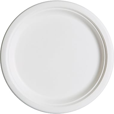 Eco Products  Compostable Round Sugarcane Plate, 10in.(Dia), Natural White, 500/Carton